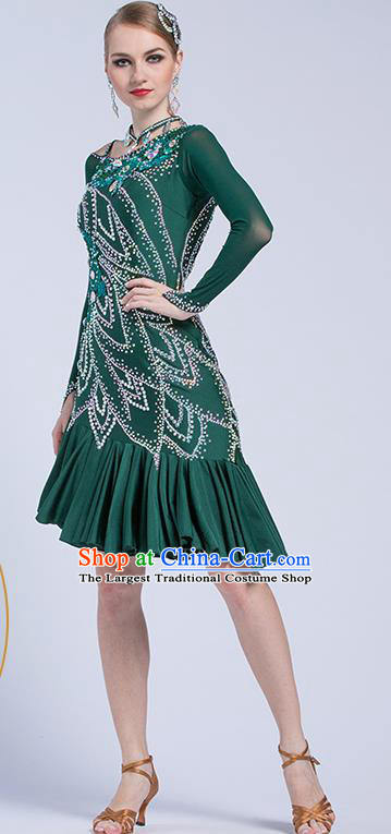 Top Latin Dance Competition Deep Green Dress Modern Dance International Rumba Dance Costume for Women