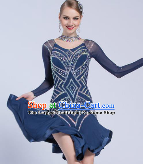 Top Latin Dance Competition Navy Dress Modern Dance International Rumba Dance Costume for Women