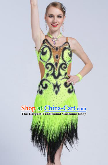 Top Latin Dance Competition Green Tassel Dress Modern Dance International Rumba Dance Costume for Women