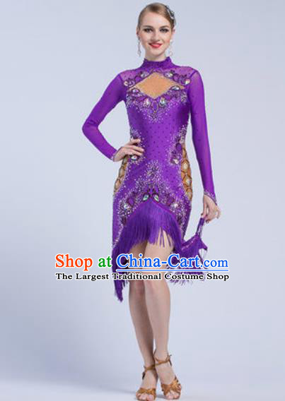 Top Latin Dance Competition Purple Tassel Short Dress Modern Dance International Rumba Dance Costume for Women