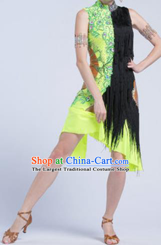 Top Latin Dance Competition Green Dress Modern Dance International Rumba Dance Costume for Women