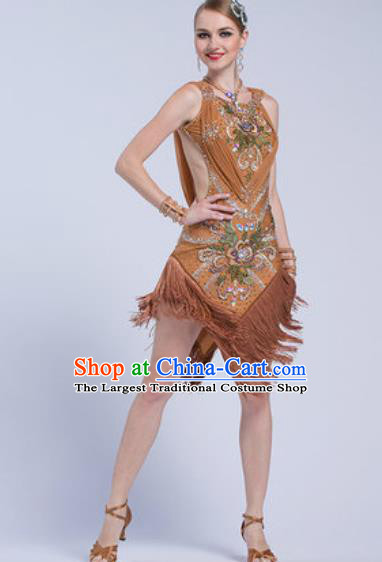 Top Latin Dance Competition Brown Tassel Dress Modern Dance International Rumba Dance Costume for Women