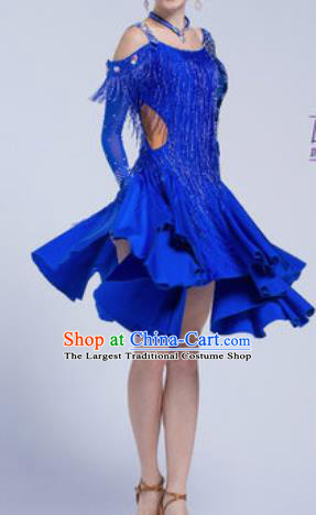 Top Latin Dance Competition Royalblue Tassel Dress Modern Dance International Rumba Dance Costume for Women