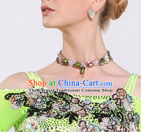 Handmade Latin Dance Competition Green Crystal Necklet Modern Dance International Rumba Dance Necklace Accessories for Women