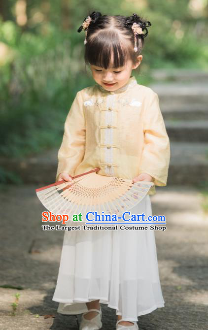 Chinese National Girls Yellow Cheongsam Blouse and White Skirt Traditional New Year Tang Suit Costume for Kids