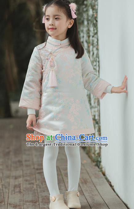 Chinese National Girls White Coat Costume Traditional New Year Tang Suit Outer Garment for Kids