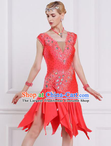 Professional Latin Dance Competition Watermelon Red Dress Modern Dance International Rumba Dance Costume for Women