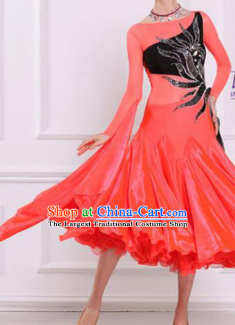 Top Waltz Competition Modern Dance Watermelon Red Dress Ballroom Dance International Dance Costume for Women
