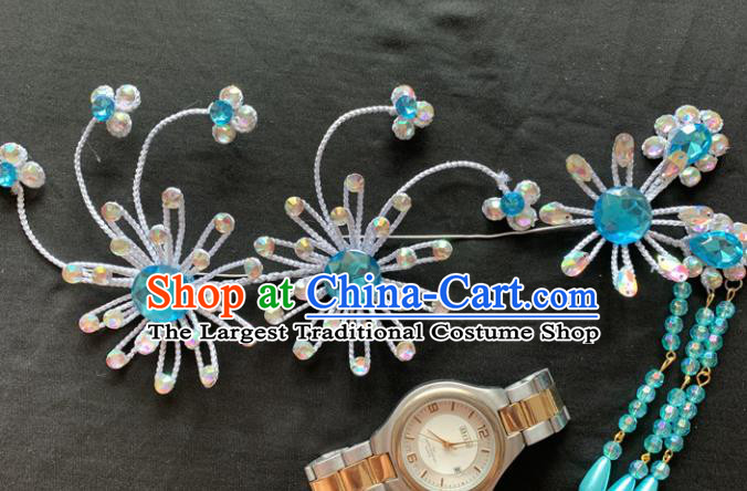 Chinese Beijing Opera Diva Blue Tassel Hairpins Headgear Traditional Peking Opera Queen Hair Accessories for Women