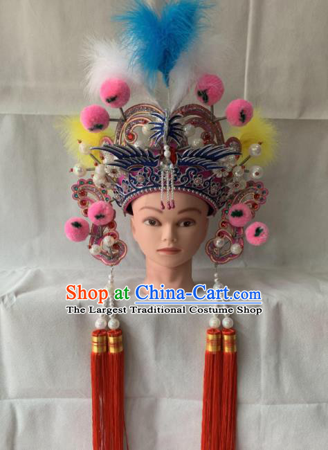 Chinese Beijing Opera Female Swordsman Pink Hat Traditional Peking Opera Hair Accessories for Women