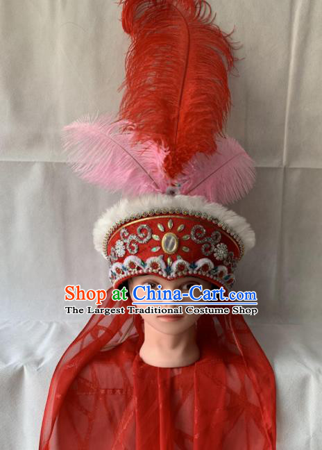 Chinese Beijing Opera Princess Red Hat Traditional Peking Opera Feather Hair Accessories for Women