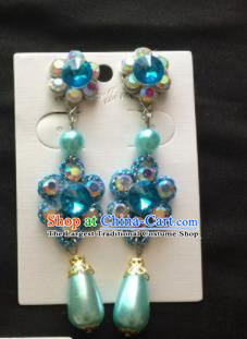 Chinese Beijing Opera Diva Blue Crystal Earrings Traditional Peking Opera Princess Ear Accessories for Women