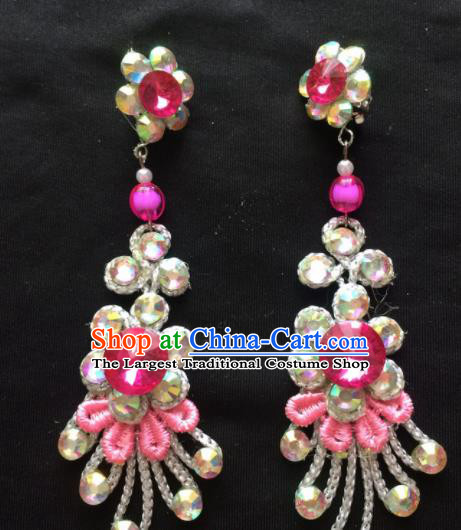 Chinese Beijing Opera Diva Earrings Traditional Peking Opera Princess Rosy Crystal Ear Accessories for Women
