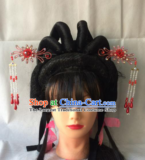 Chinese Beijing Opera Diva Red Hairpins Traditional Peking Opera Princess Hair Accessories for Women