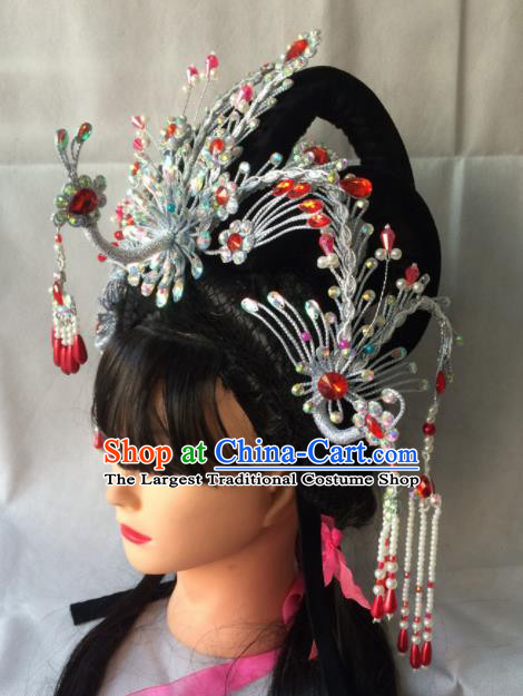 Chinese Beijing Opera Diva Phoenix Coronet Hairpins Traditional Peking Opera Queen Hair Accessories for Women