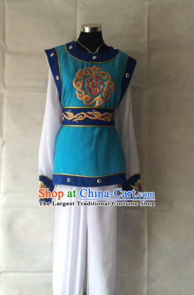 Chinese Beijing Opera Takefu Blue Clothing Traditional Peking Opera Soldier Costume for Men