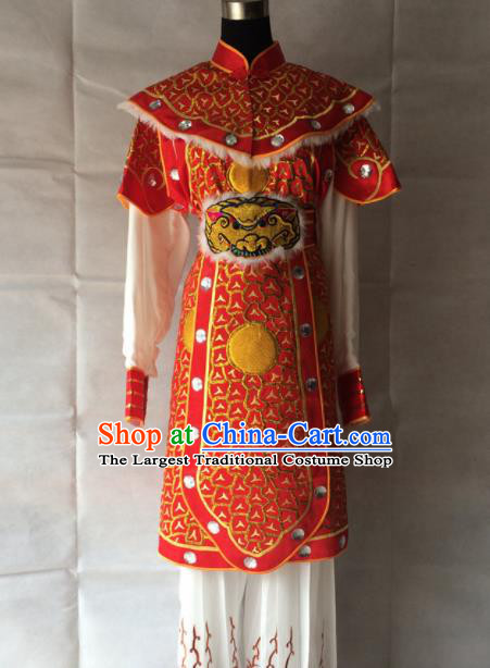 Chinese Beijing Opera Takefu Red Clothing Traditional Peking Opera Soldier Costume for Men