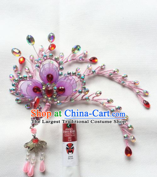 Chinese Beijing Opera Diva Pink Phoenix Hairpins Traditional Peking Opera Princess Hair Accessories for Women