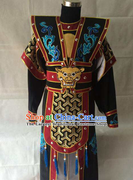 Chinese Beijing Opera Takefu Black Clothing Traditional Peking Opera Soldier Costume for Men