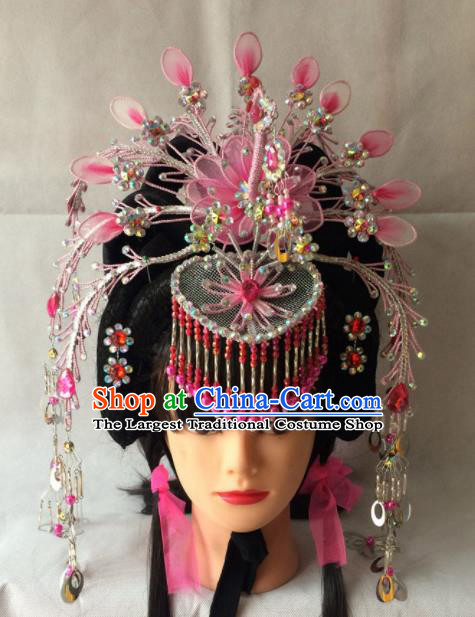 Chinese Beijing Opera Diva Pink Phoenix Coronet Hairpins Traditional Peking Opera Empress Hair Accessories for Women