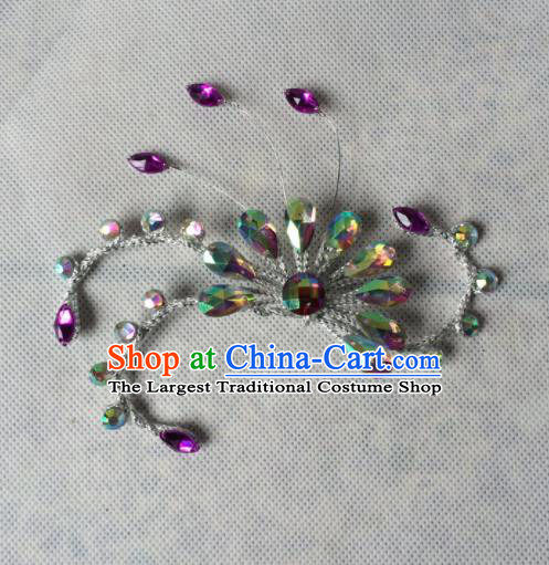 Chinese Beijing Opera Diva Purple Crystal Hair Claw Hairpins Traditional Peking Opera Hair Accessories for Women