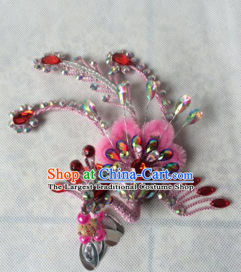 Chinese Beijing Opera Princess Pink Phoenix Hairpins Traditional Peking Opera Diva Hair Accessories for Women