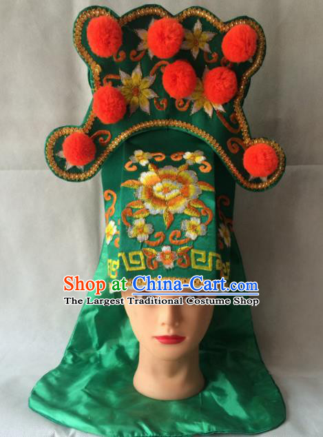 Chinese Beijing Opera Imperial Bodyguard Green Hat Traditional Peking Opera Takefu Headwear for Men