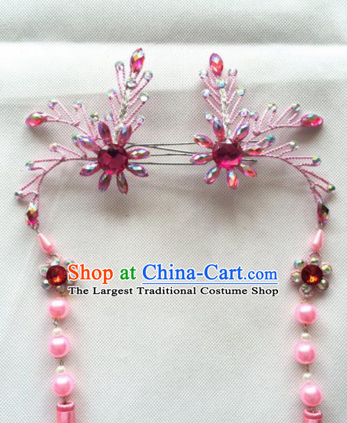 Chinese Beijing Opera Princess Pink Tassel Hairpins Traditional Peking Opera Diva Hair Accessories for Women
