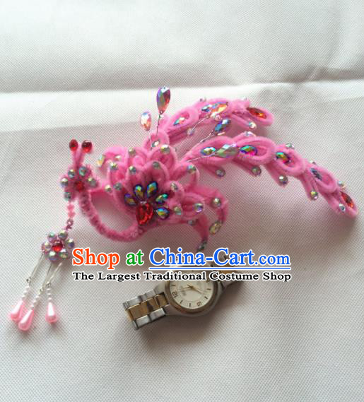 Chinese Beijing Opera Princess Pink Velvet Phoenix Hairpins Traditional Peking Opera Diva Hair Accessories for Women