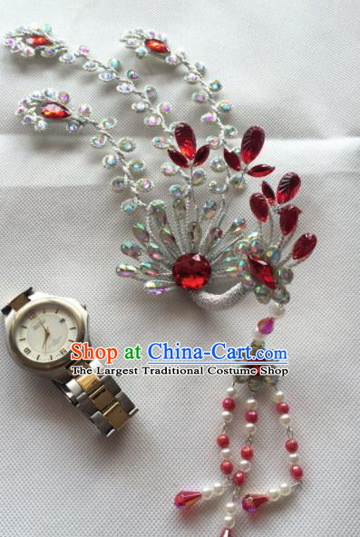 Chinese Beijing Opera Princess Red Crystal Phoenix Hairpins Traditional Peking Opera Diva Hair Accessories for Women