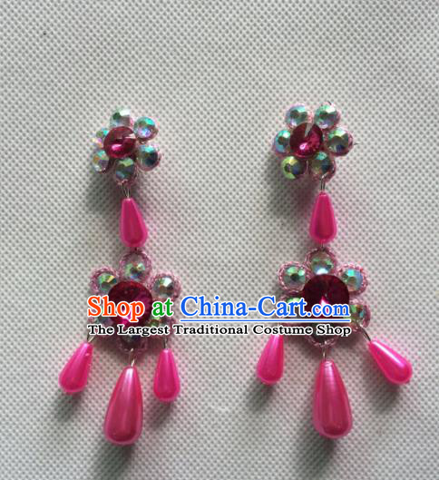 Chinese Beijing Opera Princess Rosy Earrings Traditional Peking Opera Diva Jewelry Accessories for Women