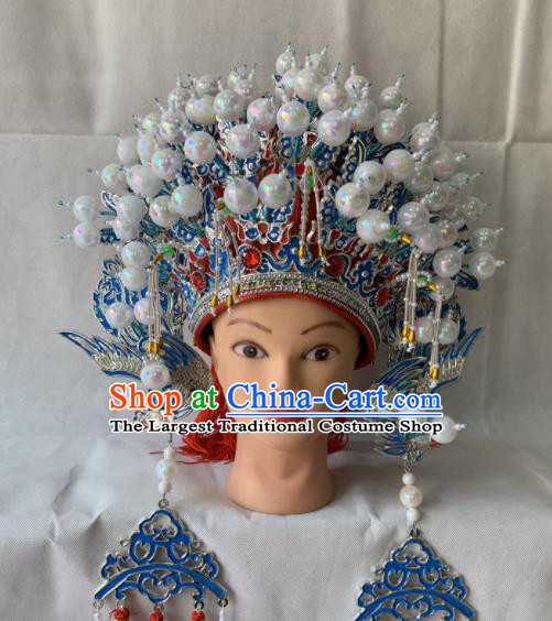 Chinese Beijing Opera Diva Red Phoenix Coronet Traditional Peking Opera Bride Hair Accessories for Women