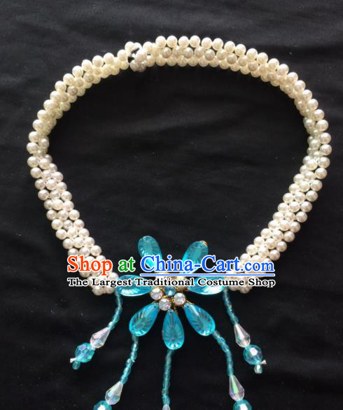Chinese Beijing Opera Diva Blue Flower Necklace Traditional Peking Opera Princess Necklet Accessories for Women