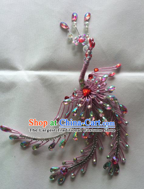 Chinese Beijing Opera Nobility Lady Pink Phoenix Hairpins Traditional Peking Opera Diva Hair Accessories for Women