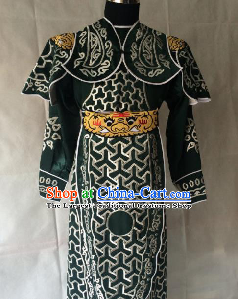 Chinese Beijing Opera Takefu Deep Green Clothing Traditional Peking Opera Soldier Costume for Men