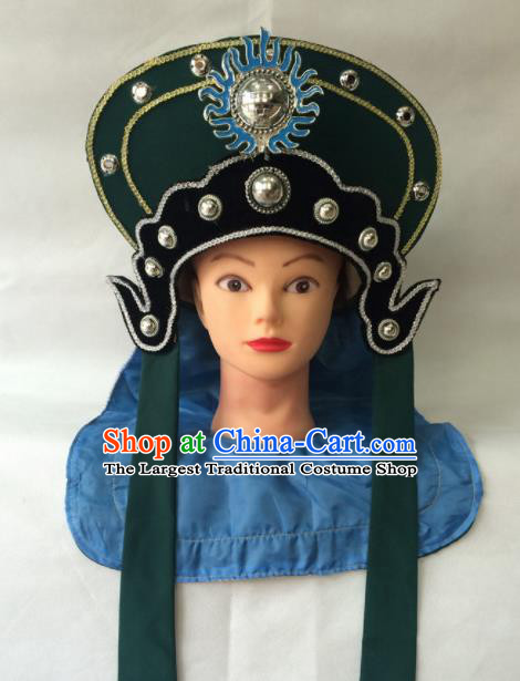 Chinese Beijing Opera Soldier Green Hat Traditional Peking Opera Takefu Headwear for Men