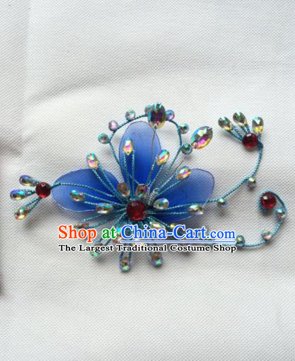 Chinese Beijing Opera Diva Blue Hair Claw Hairpins Traditional Peking Opera Hair Accessories for Women