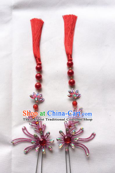 Chinese Beijing Opera Diva Red Tassel Hairpins Traditional Peking Opera Hair Accessories for Women