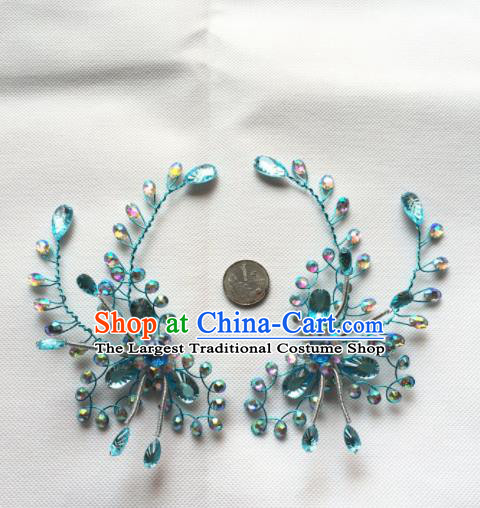 Chinese Beijing Opera Actress Blue Crystal Hair Claw Traditional Peking Opera Princess Hair Accessories for Women