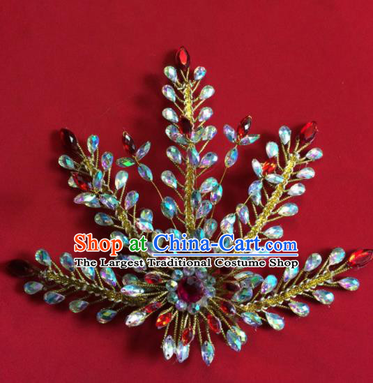 Chinese Ancient Princess Crystal Phoenix Hairpin Traditional Peking Opera Actress Hair Accessories for Women