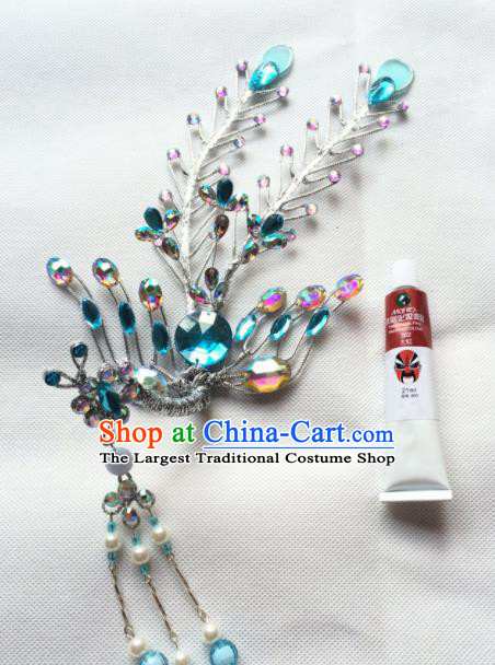 Chinese Ancient Princess Blue Crystal Phoenix Tassel Hairpin Traditional Peking Opera Actress Hair Accessories for Women