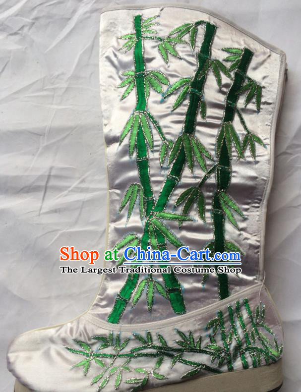 Chinese Beijing Opera Embroidery Bamboo White Boots Traditional Peking Opera Takefu Embroidered Shoes for Men