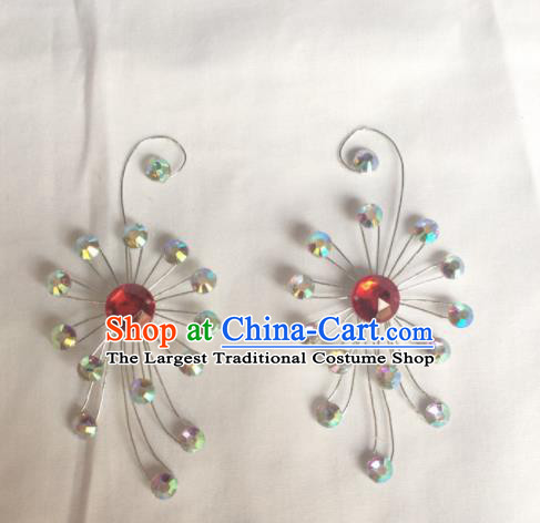 Chinese Beijing Opera Diva Crystal Hair Claw Hairpins Traditional Peking Opera Hair Accessories for Women