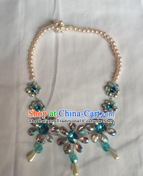 Chinese Beijing Opera Princess Blue Necklace Traditional Peking Opera Diva Necklet Accessories for Women