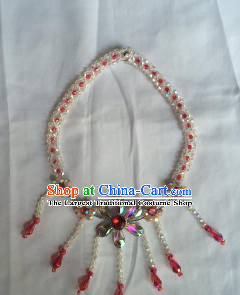 Chinese Beijing Opera Princess Beads Tassel Necklace Traditional Peking Opera Diva Necklet Accessories for Women