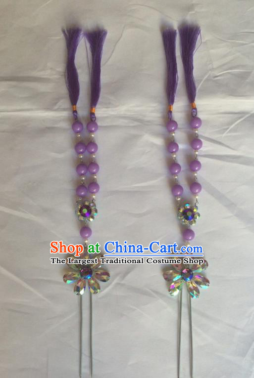 Chinese Beijing Opera Diva Purple Beads Tassel Hairpins Traditional Peking Opera Hair Accessories for Women