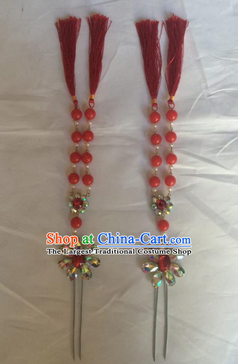 Chinese Beijing Opera Diva Red Beads Tassel Hairpins Traditional Peking Opera Hair Accessories for Women