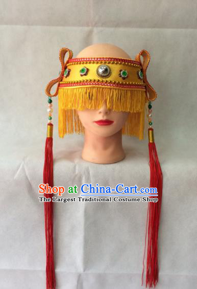 Chinese Beijing Opera Livehand Tassel Hat Traditional Peking Opera Headwear for Men