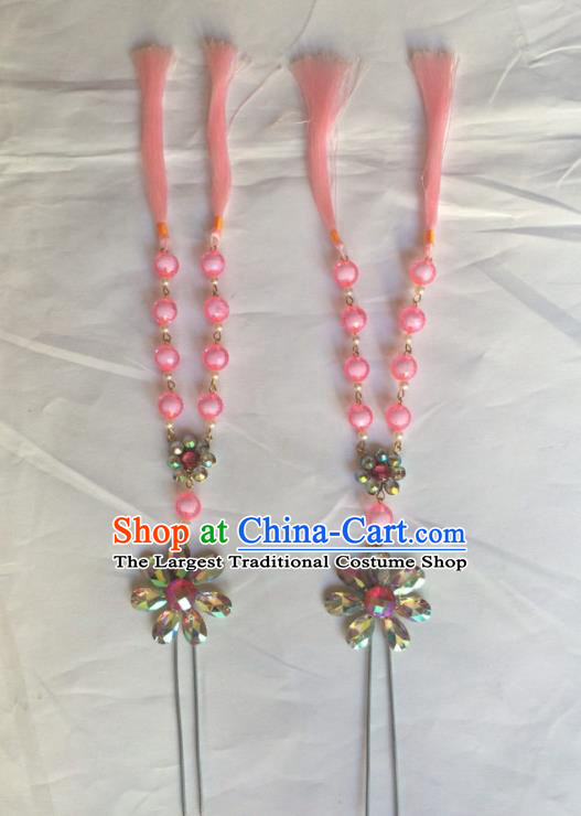 Chinese Beijing Opera Diva Pink Beads Tassel Hairpins Traditional Peking Opera Hair Accessories for Women