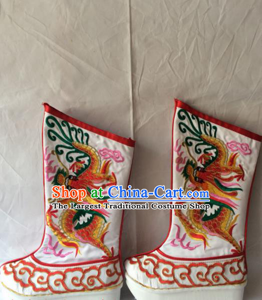 Chinese Beijing Opera Emperor White Boots Traditional Peking Opera Takefu Embroidered Red Dragon Shoes for Men